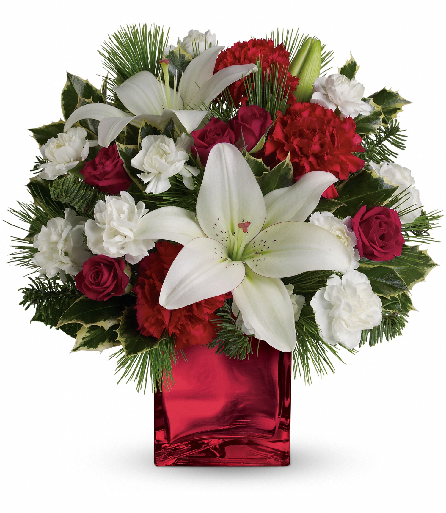 Christmas Flower Arrangements Caroling in the Snow by Teleflora