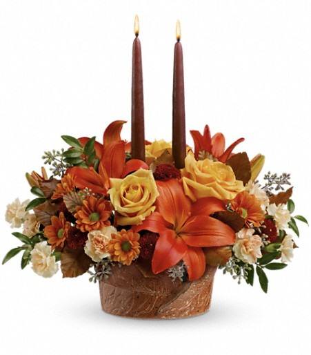 Teleflora s wrapped in autumn centerpiece